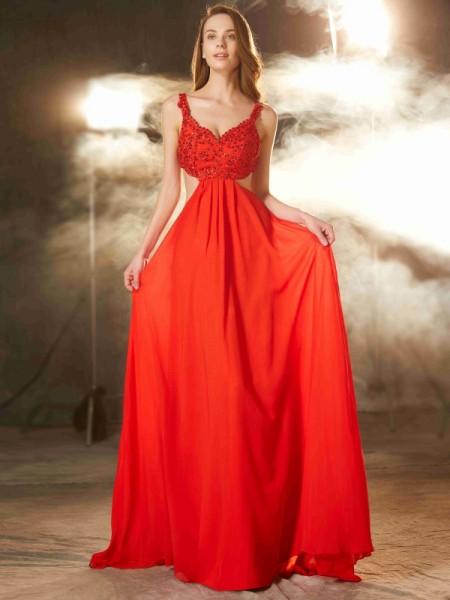 Trapèze/Princesse Avec bretelles Sans Manches Traîne courte Appliqués Mousseline Robes