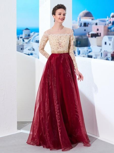 Trapèze/Princesse Sheer Neck Longueur ras du sol Manches longues Appliqués Organza Robes
