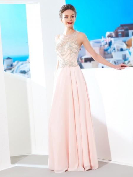 Trapèze/Princesse Col plongeant Sans Manches Mousseline Cristal Longueur ras du sol Robes