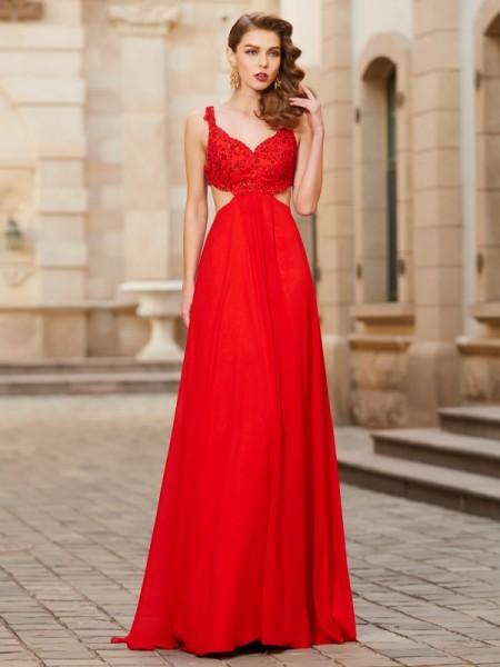 Trapèze/Princesse Avec bretelles Sans Manches Longueur ras du sol Appliqués Mousseline Robes