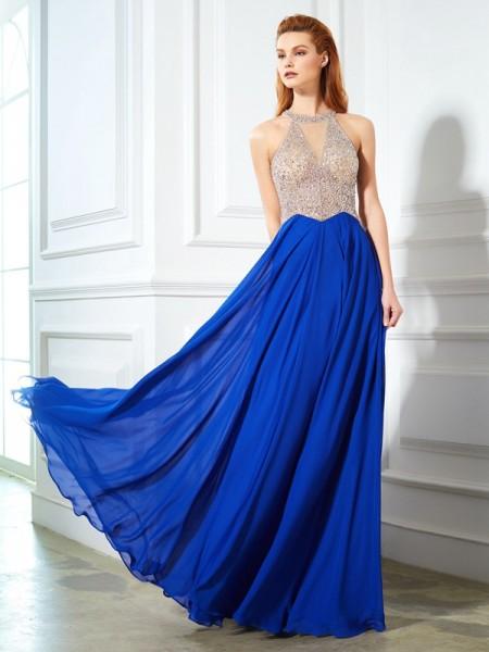 Trapèze/Princesse Col plongeant Sans Manches Longueur ras du sol Cristal Mousseline Robes