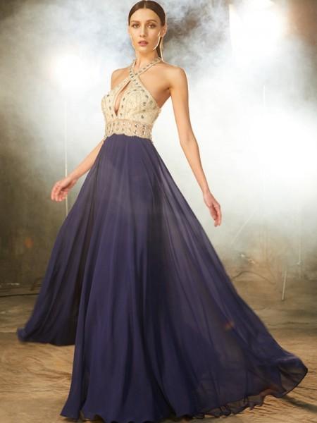 Trapèze/Princesse Sans Manches Avec bretelles Perles Mousseline Longueur ras du sol Robes