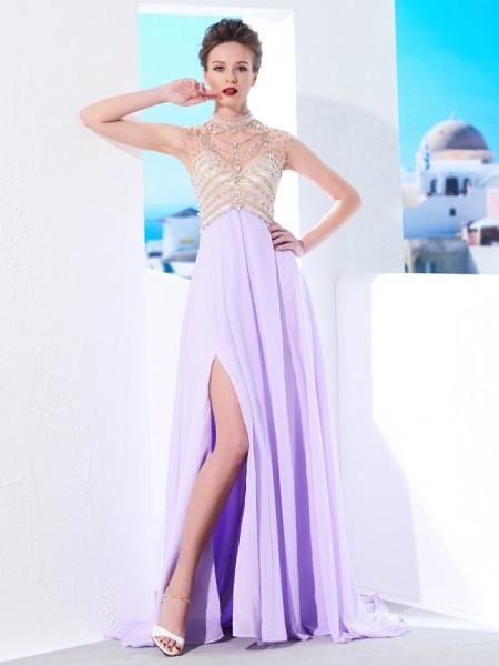 Trapèze/Princesse Col montant Sans Manches Traîne courte Cristal Mousseline Robes