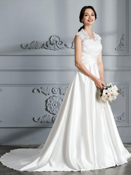 Robe de bal Col en V Sans Manches Traîne moyenne Satiné Robes de Mariée