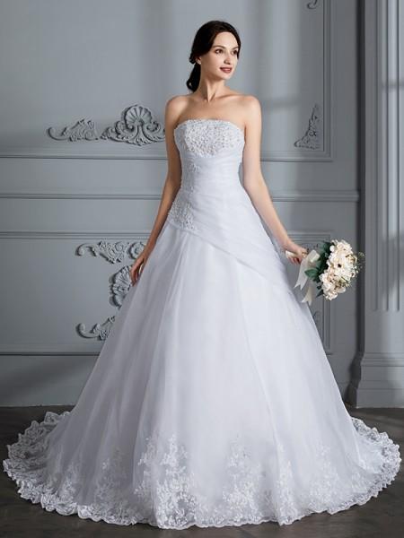 Robe de bal Sans bretelles Sans Manches Traîne moyenne Organza Robes de Mariée