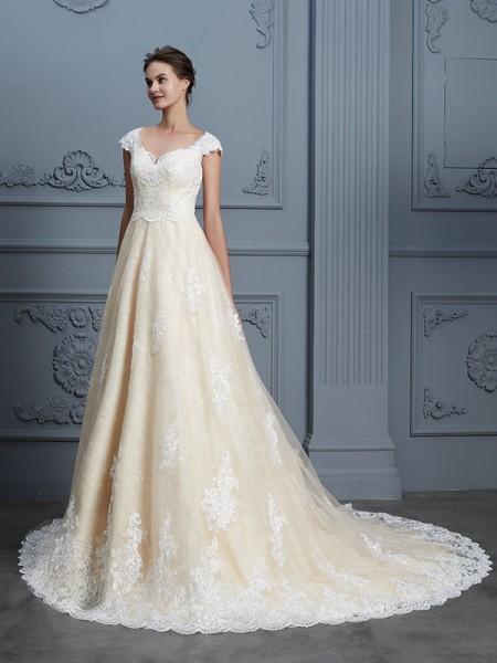 Robe de bal Col en coeur Perles Sans Manches Traîne moyenne Dentelle Robes de Mariée