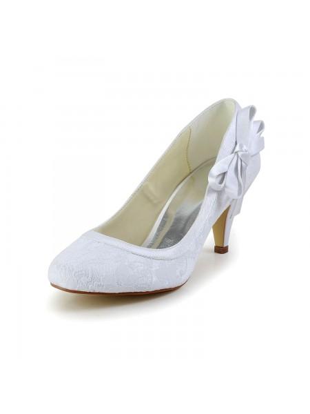 Women's Amazing Satin Toe Fermé Cône talon White Chaussures de mariage With Boucles