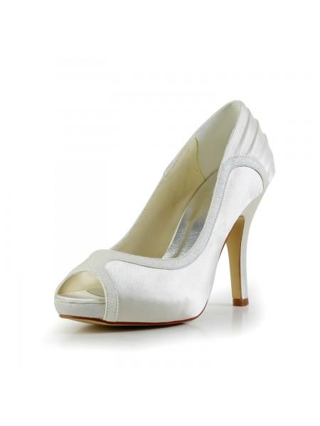 Women's Amazing Satin Stiletto Heel Ivory Chaussures de mariage