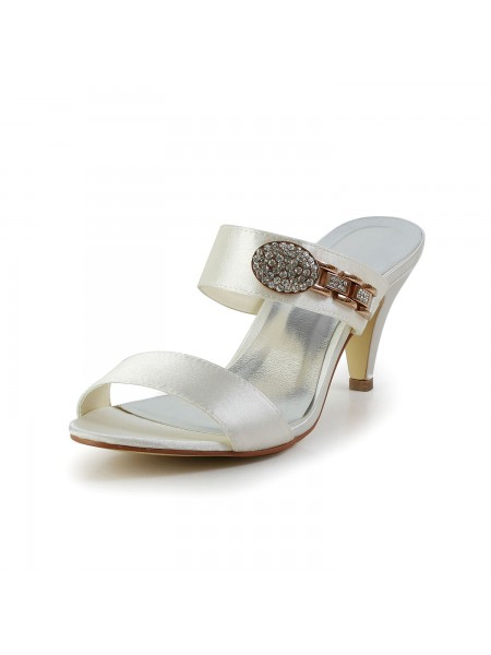 Women's Attractive Satin Peep Toe Cône talon With Faux diamants Ivory Sandal Shoes