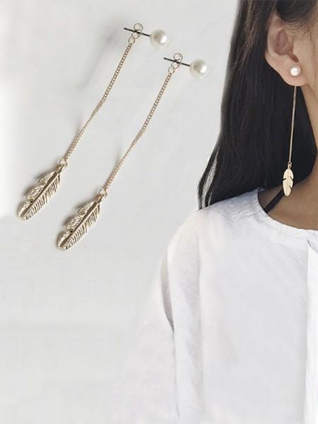Ladies's Vintage Longue Chain Leaf With Pearl Des boucles d'oreilles