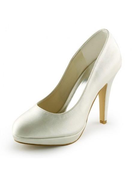 Women's Beau Satin Stiletto Heel Toe Fermé Plate-forme Ivory Chaussures de mariage