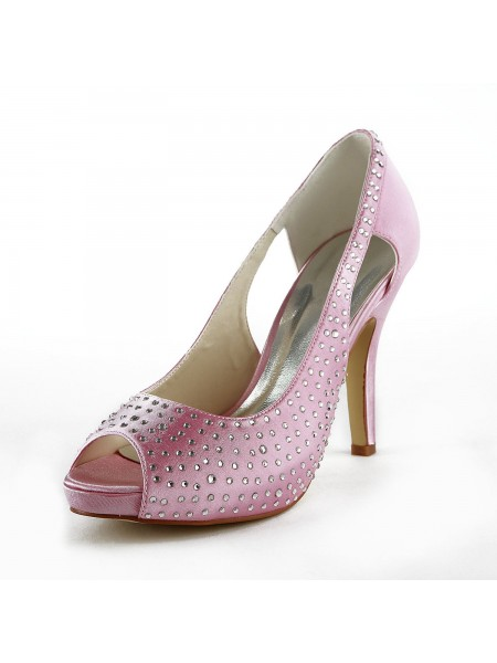 Women's Beautiful Satin Stiletto Heel Peep Toe With Faux diamants Pink Chaussures de mariage
