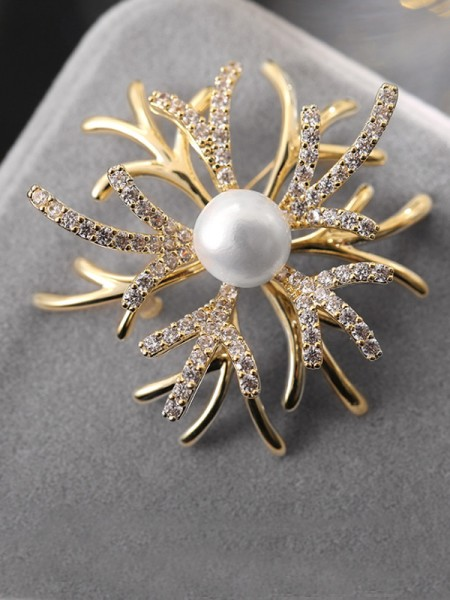 Magnifique Copper With Faux diamants Ladies' Broche