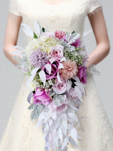 Colorful Cascade Silk Flower De mariée Bouquets
