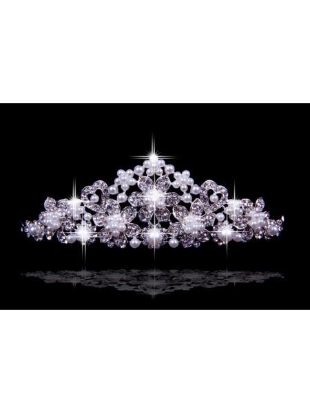 Brillant tchèque Faux diamants Fleurs Pearls Coiffes de mariage