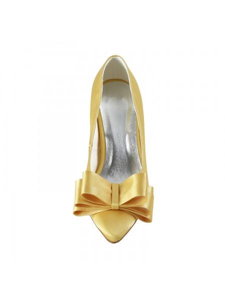 Women's Satin Spool Heel Toe Fermé Boucles Gold Chaussures de mariage