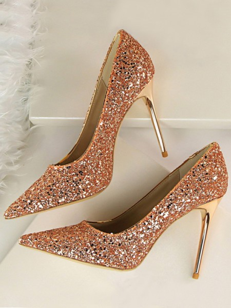 Women's Sparkling Glitter Stiletto Heel Closed Toe High Heels