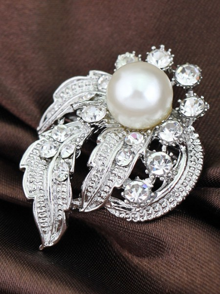Ancien Alliage With Faux diamants/Imitation Pearl Ladies' Broche