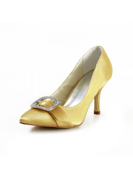 Women's Charming Satin Stiletto Heel Toe Fermé With Faux diamants Gold Chaussures de mariage