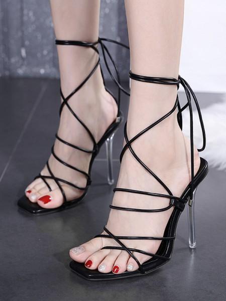Aux Femmes Peep Toe PU Dentelle-up Stiletto Heel Des sandales