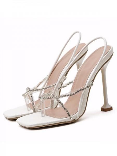 Aux Femmes PU Peep Toe Faux diamants Stiletto Heel Des sandales