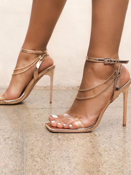 Ladies' Chain Peep Toe Stiletto Heel Des sandales