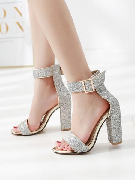 Ladies' Gorgeous Sparkling Glitter Chunky Heel Peep Toe Des sandales