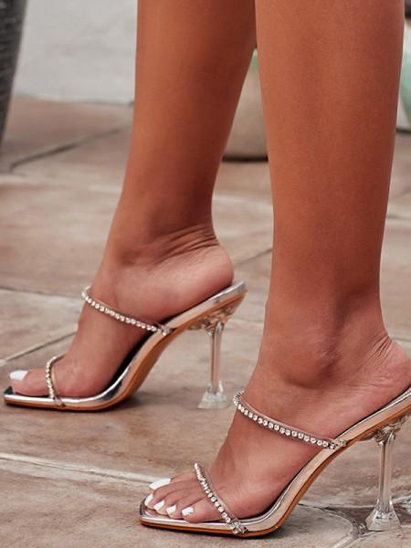 Aux Femmes Faux diamants Peep Toe Stiletto Heel Des sandales