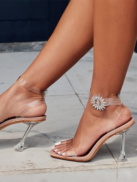 Aux Femmes PVC Peep Toe Stiletto Heel Faux diamants Des sandales