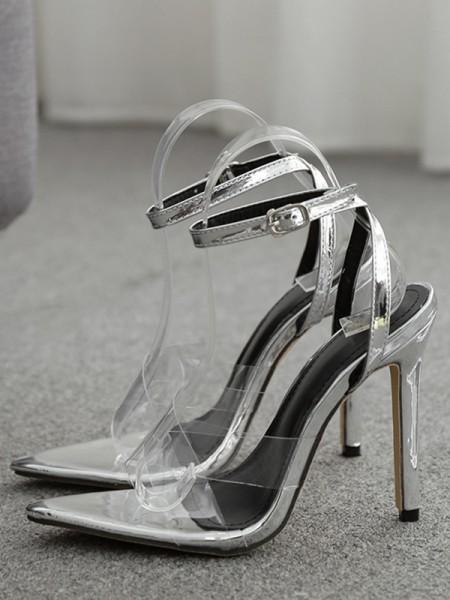 Ladies' Buckle Peep Toe PVC Stiletto Heel Des sandales