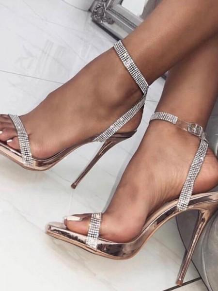 Ladies' Peep Toe Stiletto Heel PU Buckle Des sandales