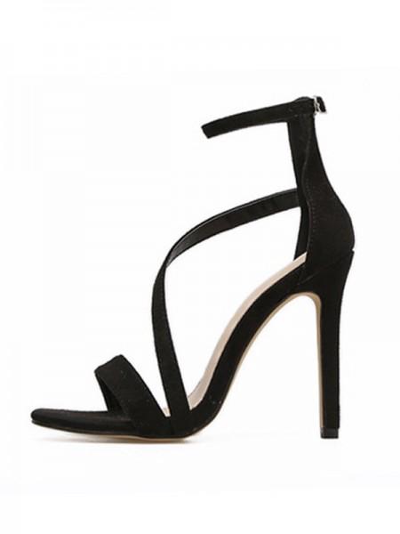 Ladies' Peep Toe Suede Stiletto Heel Buckle Des sandales