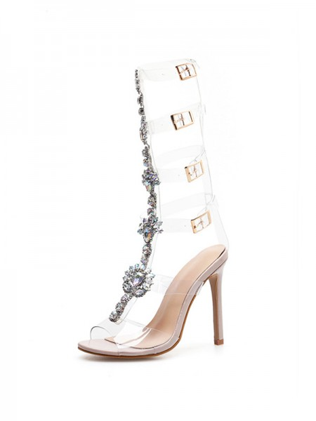 Ladies' Awesome Peep Toe Faux diamants Stiletto Heel Des sandales