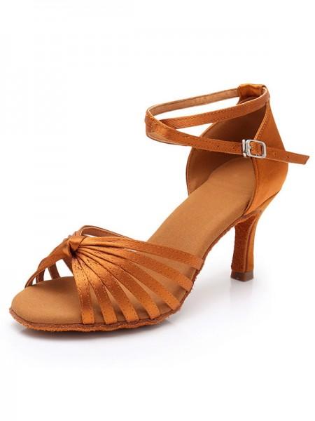 Women's Silk Stiletto Heel Peep Toe Sandals