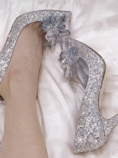 Women's Crystal Stiletto Heel Closed Toe High Heels