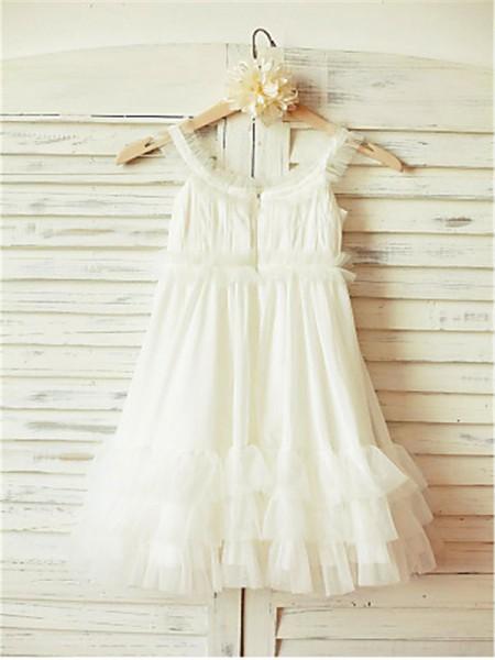 Trapèze/Princesse Avec bretelles Sans Manches Volants Longueur ras du sol Mousseline Robe de Demoiselle d'Honneur Fille