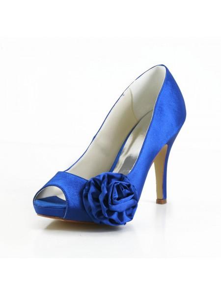 Women's Élégant Satin Peep Toe Stiletto Heel Pumps With Flower White Chaussures de mariage