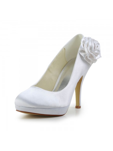 Women's Élégant Satin Stiletto Heel Pumps With Flower White Chaussures de mariage