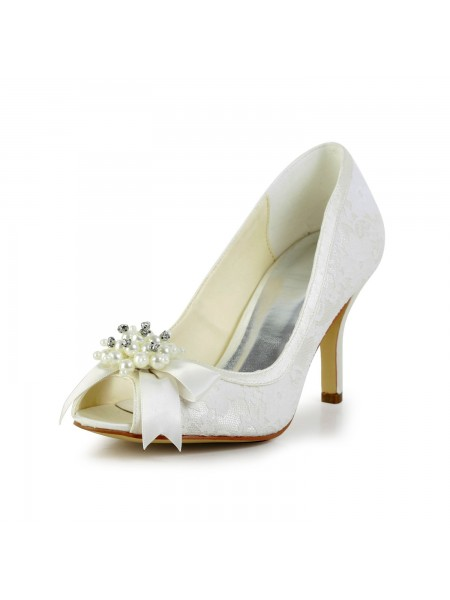 Women's Satin Stiletto Heel Pumps with Imitation Pearl and Boucles Ivory Chaussures de mariage