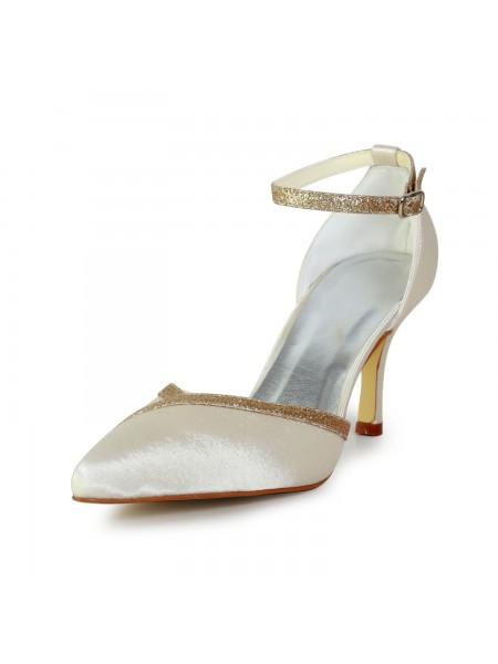 Women's Élégant Satin Stiletto Heel With Sparkling Glitter Gold Chaussures de mariage