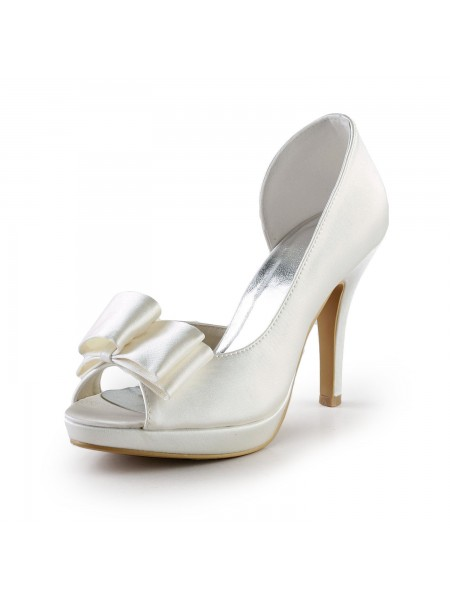 Women's Élégant Handmade Doux Cuir Butterfly Ivory Wedding High Heel Shoes