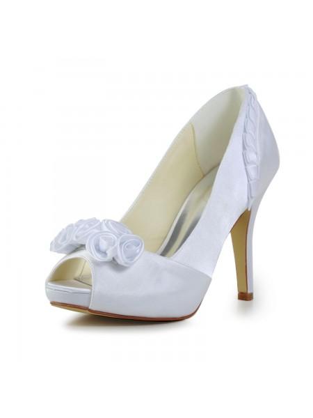 Women's Fabulous Satin Stiletto Heel Pumps With Flower White Chaussures de mariage