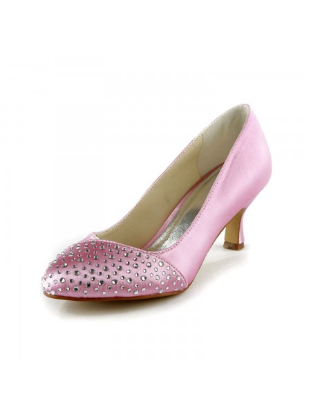 Women's Mode Satin Stiletto Heel Toe Fermé With Faux diamants Pink Chaussures de mariage