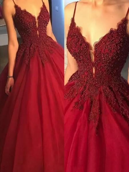 Robe de bal Sans Manches Bretelles spaghetti Traîne courte Appliqués Tulle Robes