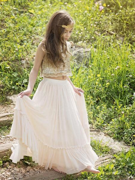 Trapèze/Princesse Sans Manches Col plongeant Longueur ras du sol Pailleté Mousseline Robe de Demoiselle d'Honneur Fille