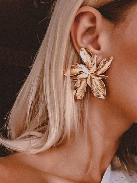 Aux Femmes Unique Floral Metal Hot Sale Des boucles d'oreilles