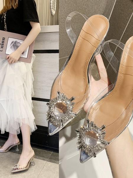 Aux Femmes Faux diamants Kitten Heel Closed Toe Des sandales