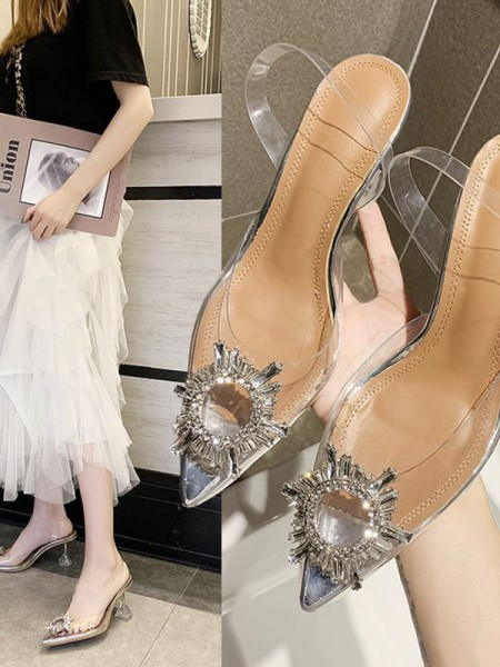 Women's Rhinestone Kitten Heel Closed Toe Sandals