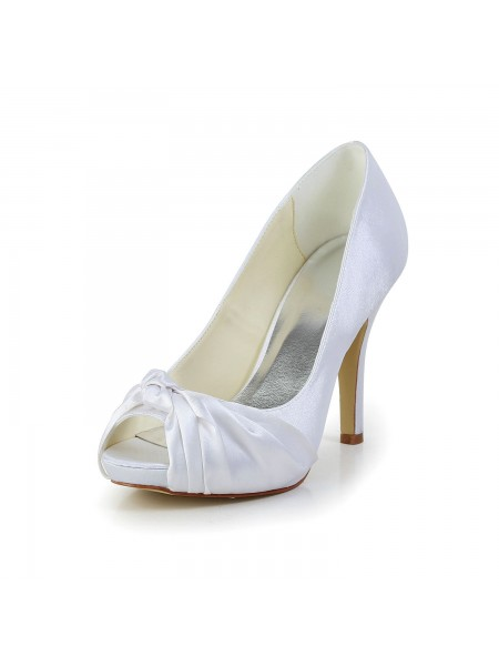Women's Gorgeous Satin Stiletto Heel Peep Toe White Chaussures de mariage