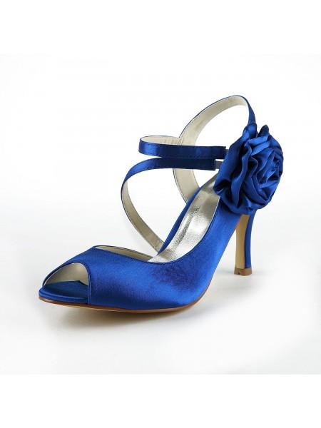 Women's Gorgeous Satin Stiletto Heel Peep Toe With Flower White Chaussures de mariage